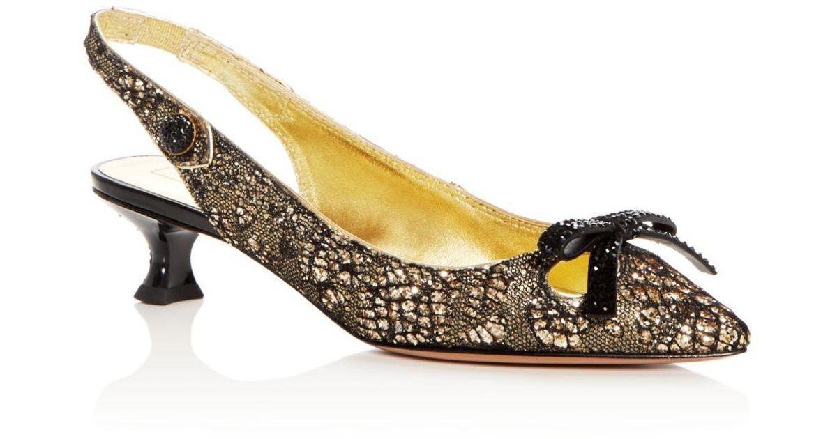 7b7e45b4c23a Marc Jacobs Women s Abbey Embellished Pointed Toe Slingback Pumps in  Metallic - Lyst