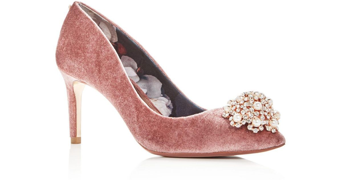 f1df374b8a3 Lyst - Ted Baker Women s Dahrlin Embellished Velvet Pointed Toe Pumps in  Pink