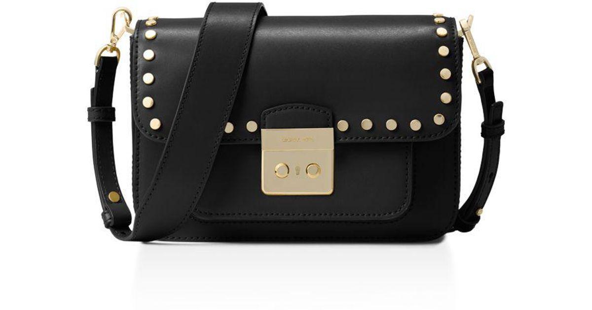 d01e9e3671 Lyst - MICHAEL Michael Kors Sloan Editor Studded Large Leather Shoulder Bag  in Black