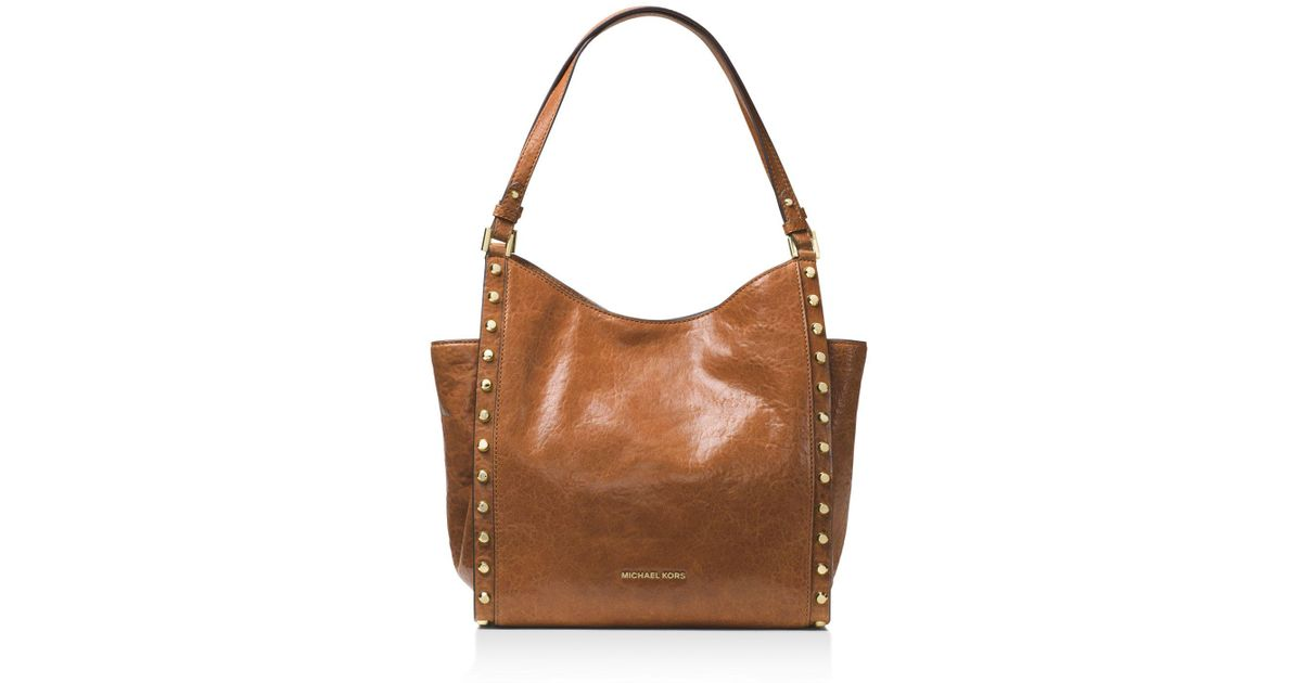 9bde075c4fec Lyst - MICHAEL Michael Kors Newbury Studded Medium Leather Tote in Brown