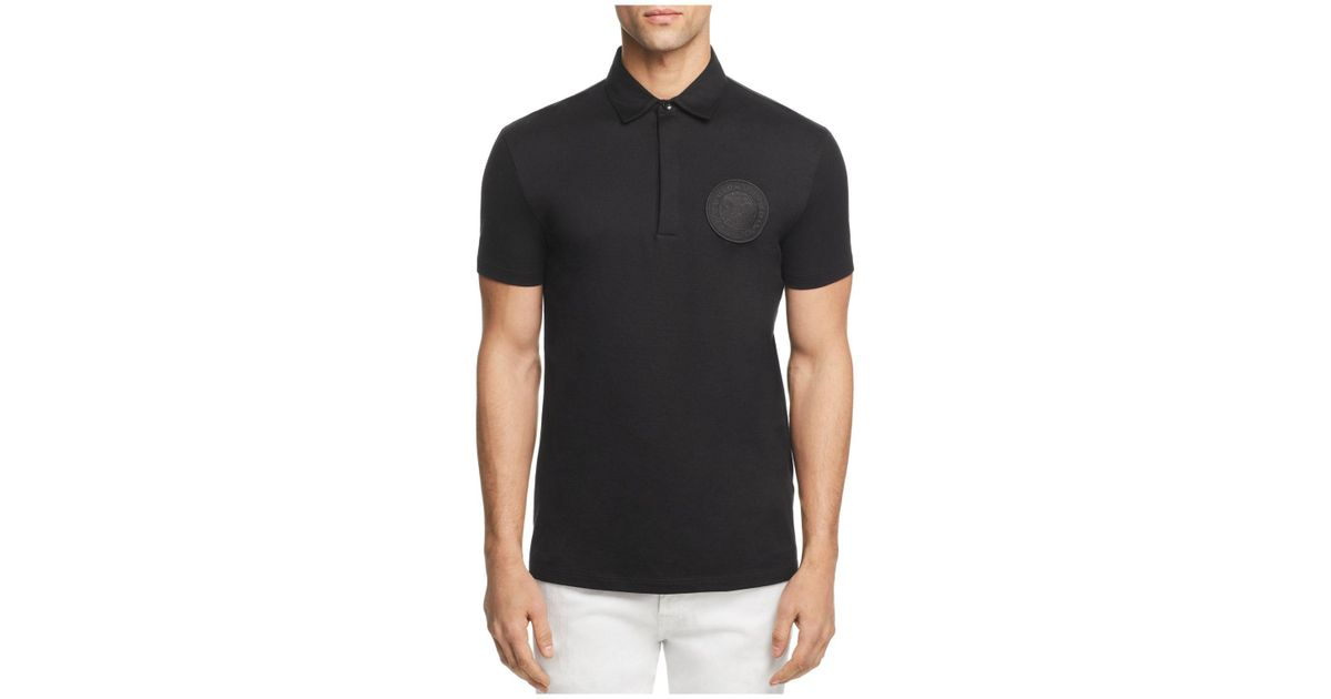 be8e2b43 Lyst - Versace Versace Bianco Ottico Patch Logo Jersey Short Sleeve Polo  Shirt in Black for Men