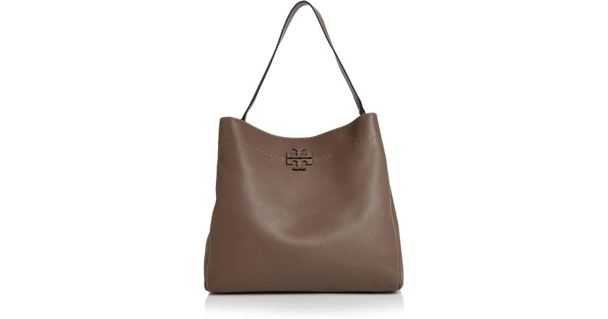3708aebb9f6 Lyst - Tory Burch Mcgraw Leather Hobo Bag in Brown