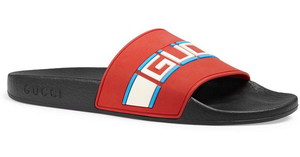 49686e06d845b Lyst - Gucci Women s Pursuit Stripe Slide Sandals in Red