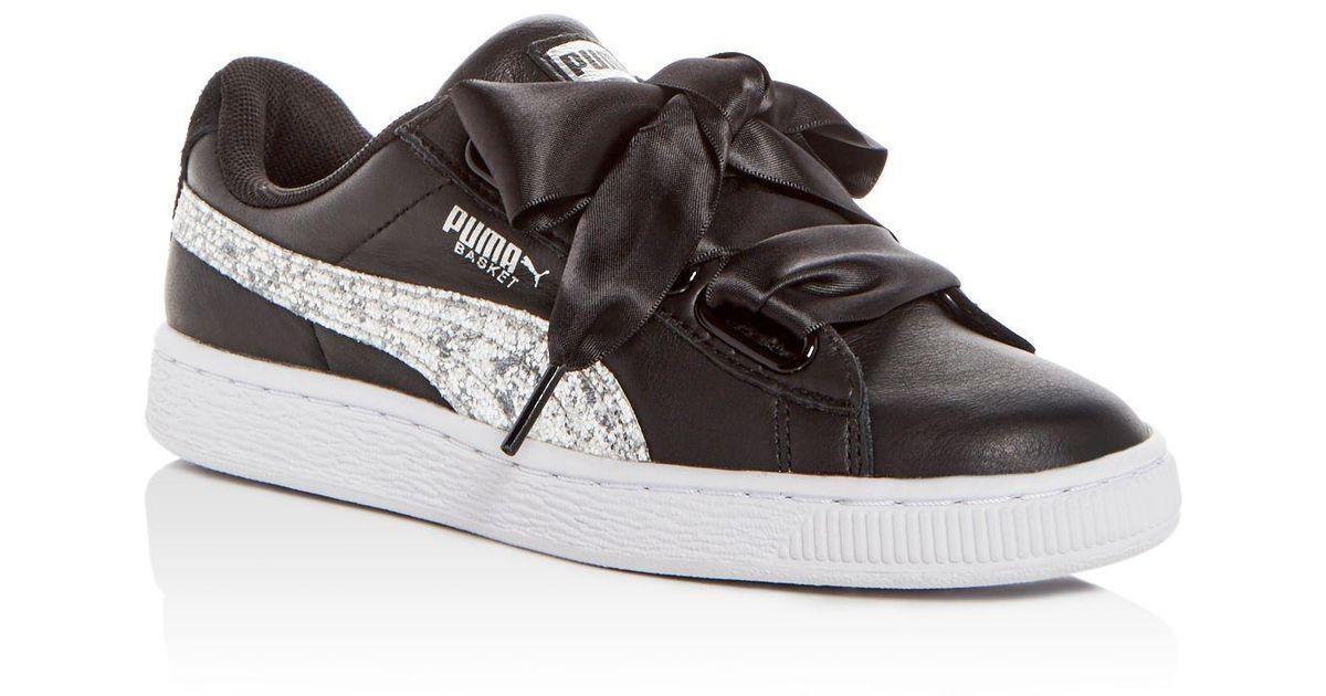 5994d3fd2e39 PUMA Women's Basket Heart Leather & Glitter Lace Up Sneakers in Black - Lyst