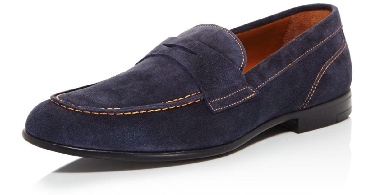 e1806166821 Lyst - Bruno Magli Men s Silas Suede Penny Loafers in Blue for Men