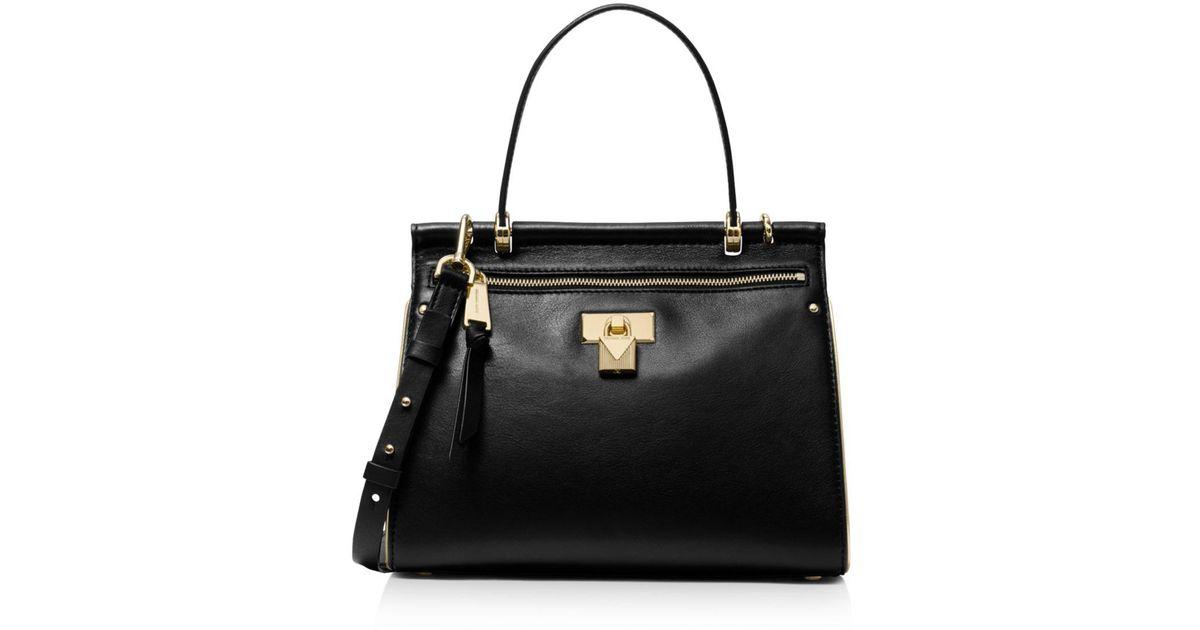 MICHAEL Michael Kors Jasmine Medium Leather Satchel in Black - Lyst 5eeb69f503ae1