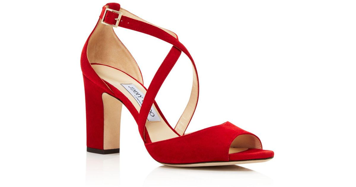 9034307f1d1 Lyst - Jimmy Choo Women s Carrie 85 Suede Crisscross High-heel Sandals in  Red - Save 60%