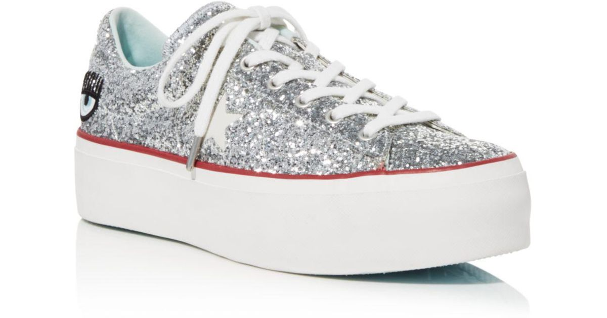 4856e089c92f Converse Women s One Star Platform X Chiara Ferragni Glitter Sneakers in  Blue - Lyst