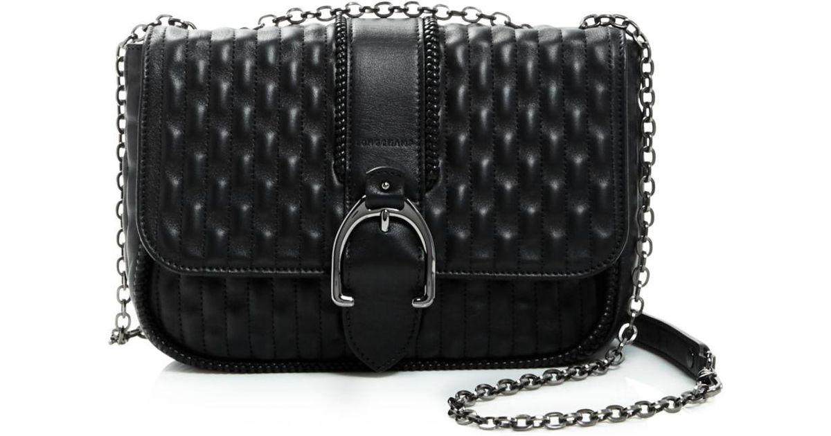 6464b533dfac Lyst - Longchamp Amazone Matelassé Small Leather Shoulder Bag in Black