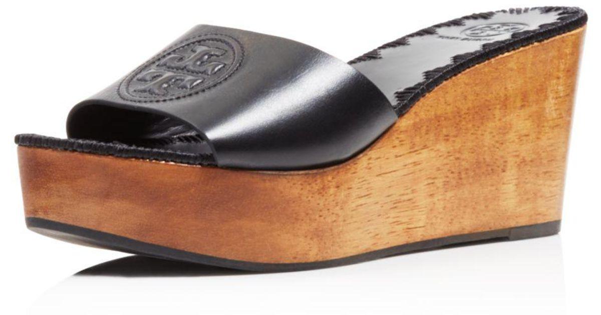 8e039546c71b8 Tory Burch Women's Patty Leather Platform Wedge Slide Sandals in Black -  Lyst