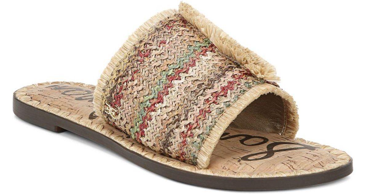 362784e88 Lyst - Sam Edelman Women s Glenda Raffia Frayed Slide Sandals