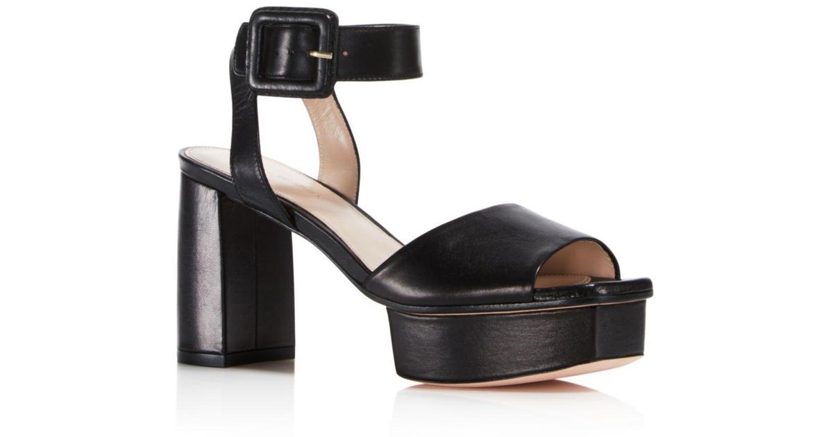 67c8c3ee40e Lyst - Stuart Weitzman Women s Newdeal Leather Platform Ankle Strap Sandals  in Black