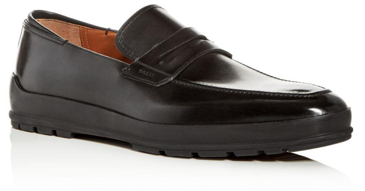 60dee8146b8 Lyst - Bally Men s Relon Leather Penny Loafer Drivers in Black for Men