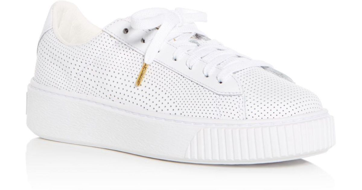 bfb11e277d16 Lyst - PUMA Women s Basket Perforated Leather Lace Up Platform Sneakers in  White