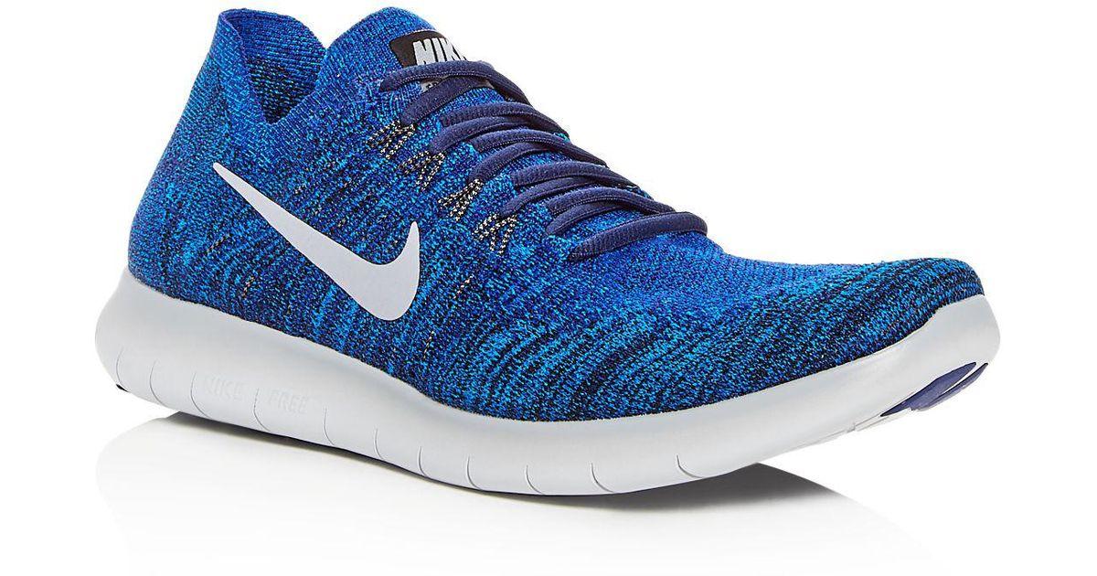 Nike - Blue Men's Free Rn Flyknit 2017 Lace Up Sneakers for Men - Lyst