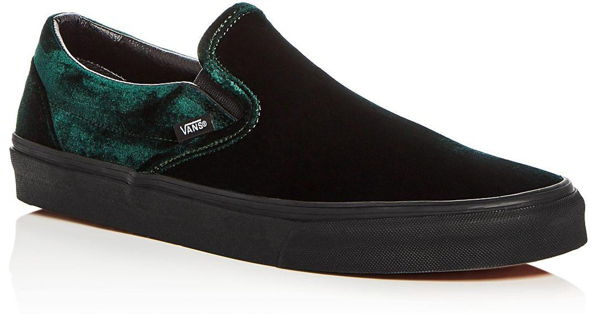 8b51d7ae217 Lyst - Vans Men s Classic Velvet Slip-on Sneakers in Green for Men