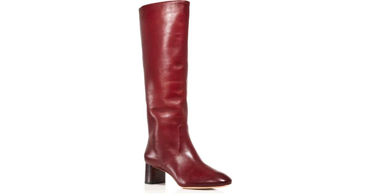 f39af71b345c Lyst - Loeffler Randall Women s Gia Pointed Toe Knee-high Leather Mid-heel  Boots in Red - Save 30%