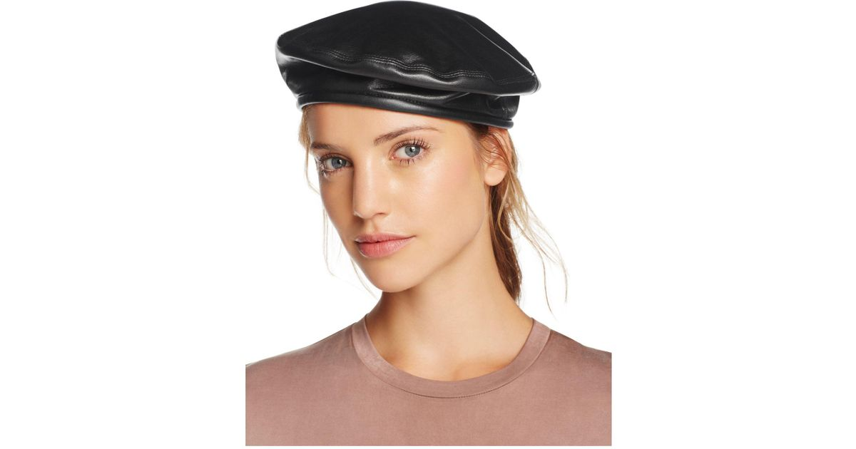 Lyst - Eric Javits Leather Beret in Black 96967a6593d