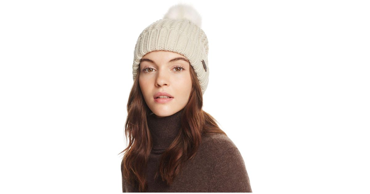 5cf19829c65 Lyst - Barbour Saltburn Pom-pom Beanie in Brown