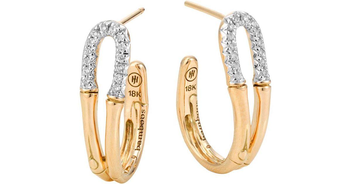 John Hardy 18k Bamboo Diamond Pavé Hoop Earrings mr1Ar