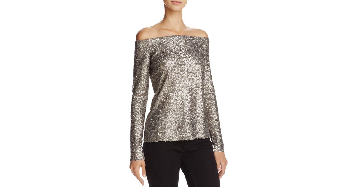 ac76ef5d6d73c Lyst - Bailey 44 Title Roll Sequined Off-the-shoulder Top