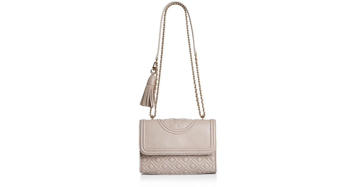 87ac02355cb6 Lyst - Tory Burch Fleming Convertible Small Leather Shoulder Bag in Metallic