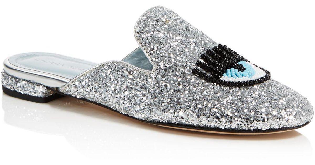 Chiara Ferragni Women's Sabot Embellished Glitter Mules WoTad9