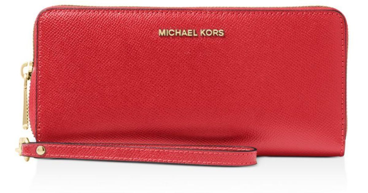 9ef276e5995f MICHAEL Michael Kors Wallet - Jet Set Travel Continental Saffiano in Red -  Lyst