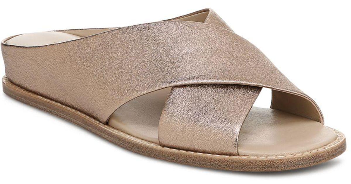 e5da3a42be4 Lyst - Vince Women s Fairley Leather Slide Sandals
