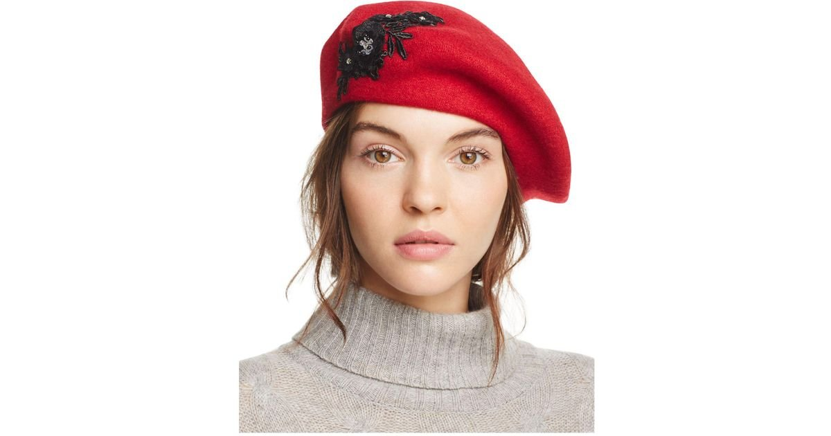 5b2c2471e August Hat Company Melton Appliqué Beret in Red - Lyst