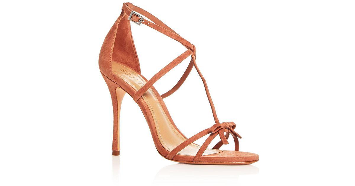 f778fecde2a Schutz Women s Sabina Suede Strappy High Heel Sandals in Brown - Lyst