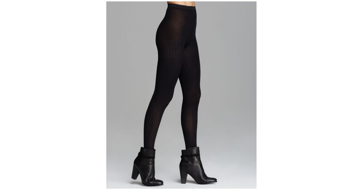 aedbb3f9bc3 Wolford Fine Cotton Ribbed Tights in Black - Lyst