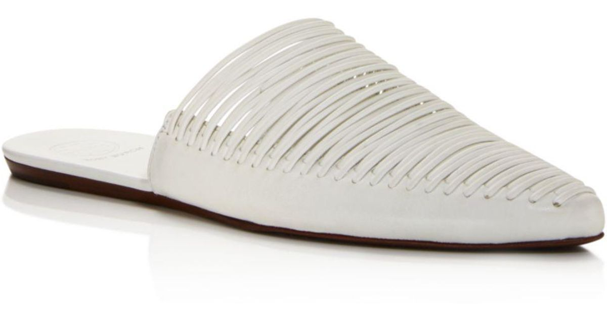 959701cf8516 Tory Burch Women s Sienna Woven Leather Pointed Toe Mules in White - Lyst