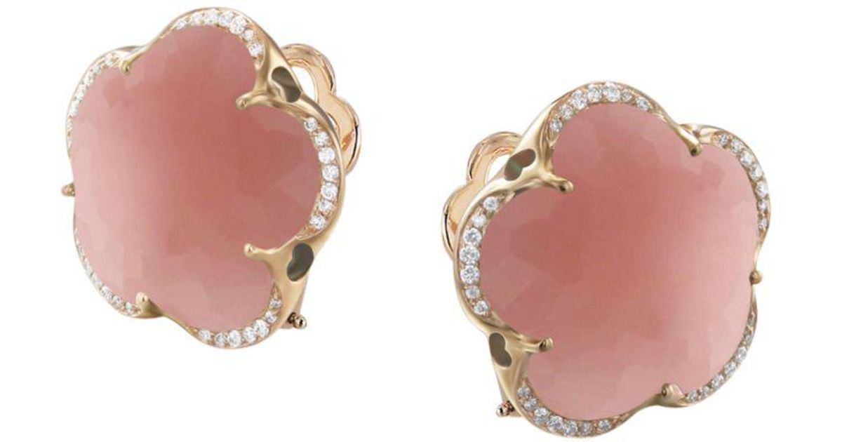 073e92be8 Pasquale Bruni 18k Rose Gold Bon Ton Dark Pink Chalcedony & Diamond Floral  Earrings in Pink - Lyst