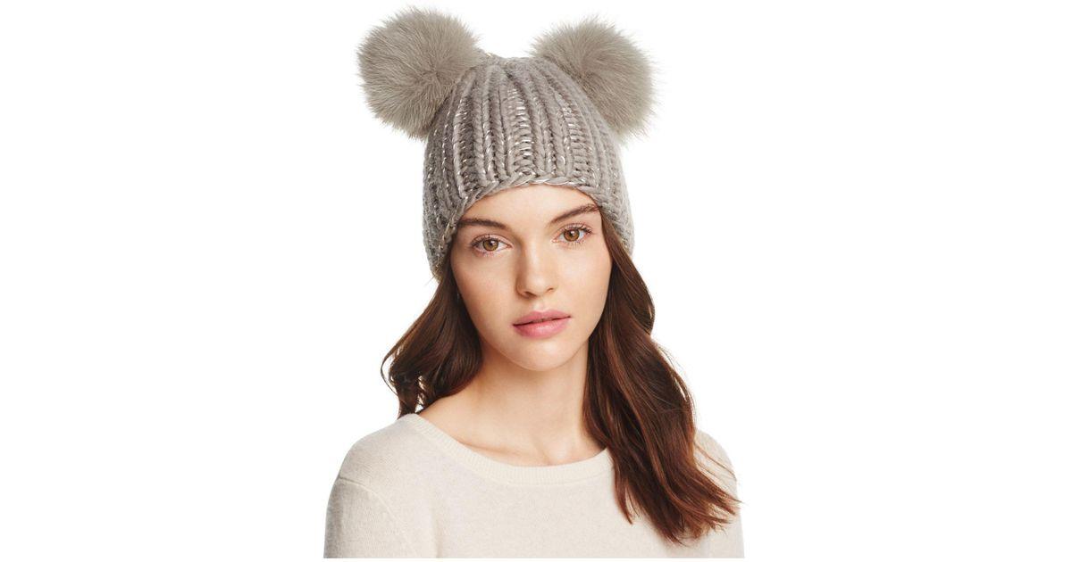 Eugenia Kim Mimi Fur Pom-pom Ears Beanie in Brown - Lyst cf76dd17b64