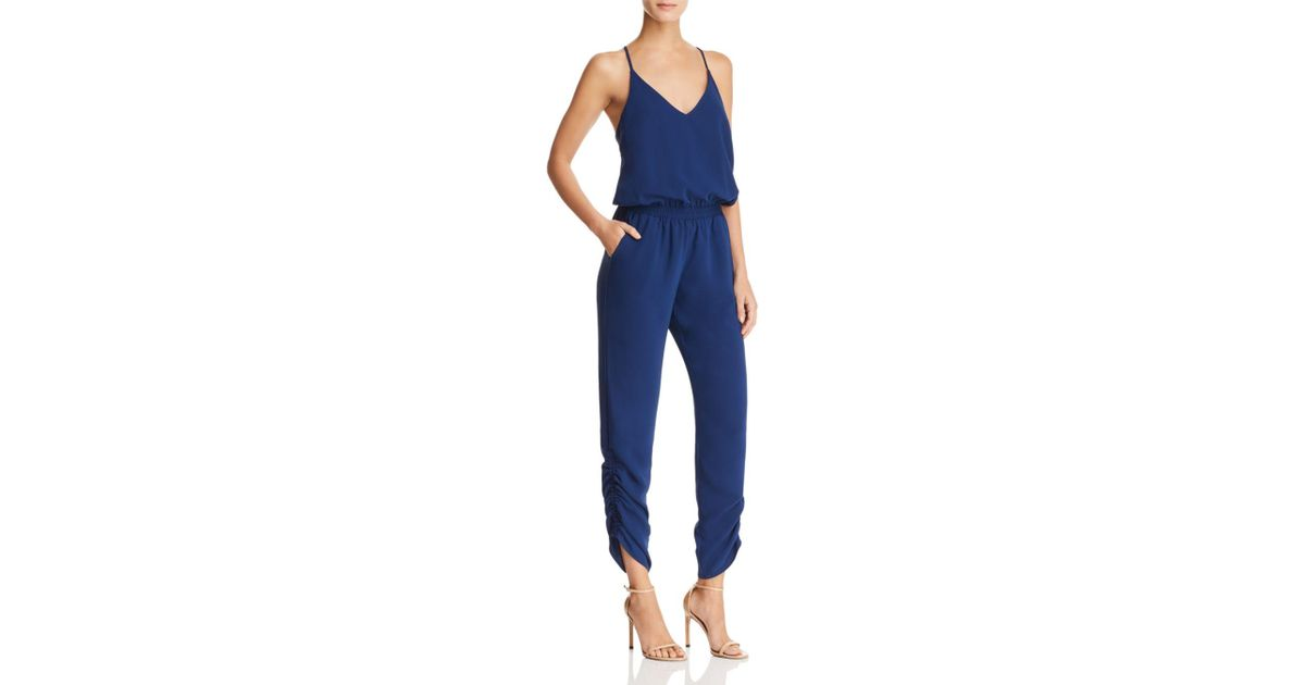 7d04238e599 Lyst - Amanda Uprichard Lowell Ruched Jumpsuit in Blue