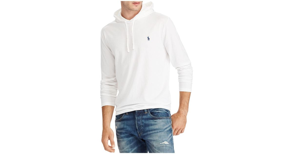 192919064 Polo Ralph Lauren Men's Jersey T-shirt Hoodie in White for Men - Lyst