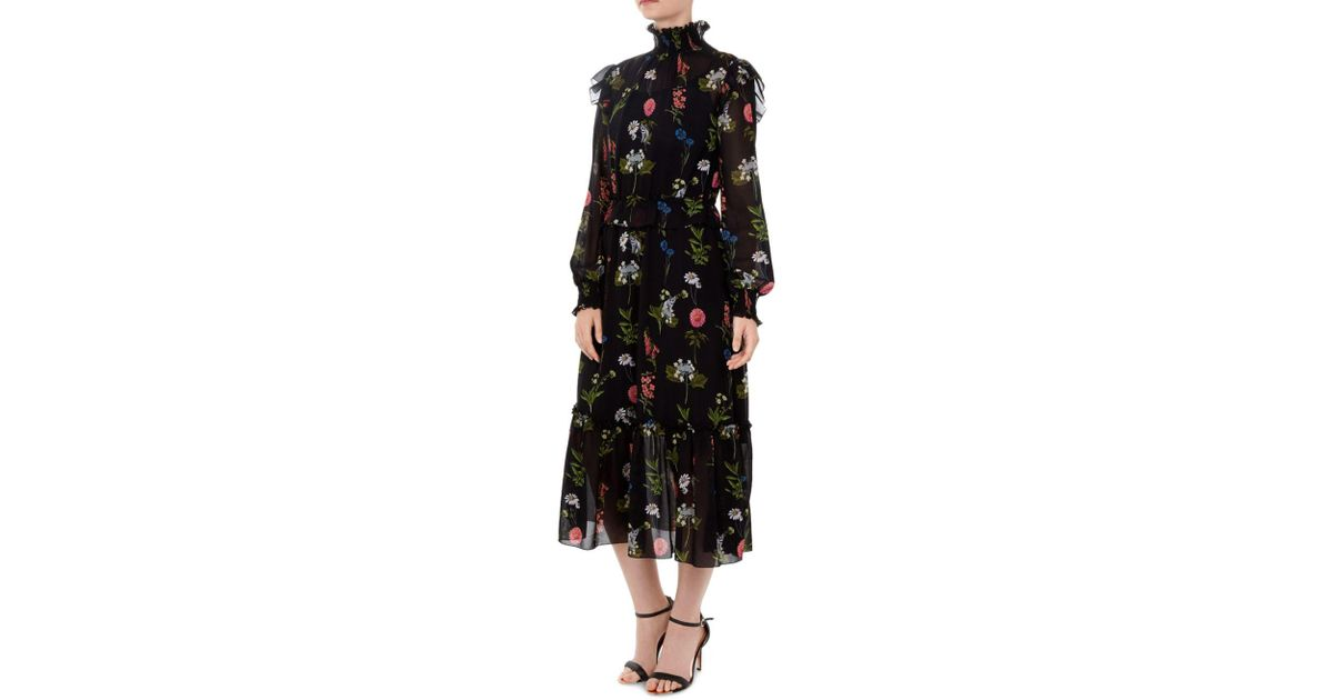 cacb75ed3d2 Lyst - Ted Baker Simarra Florence Midi Dress in Black