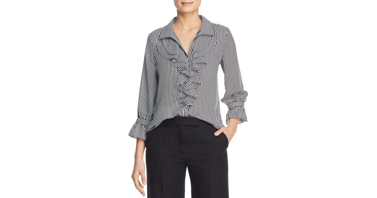 dcd0a884e1affb Lyst - Karl Lagerfeld Striped Ruffle Blouse in Black