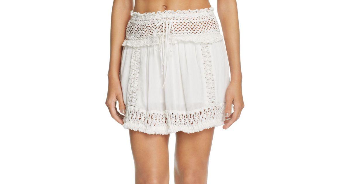Surf Gypsy Crochet Fringe Mini Skirt Swim Cover Up In White Lyst