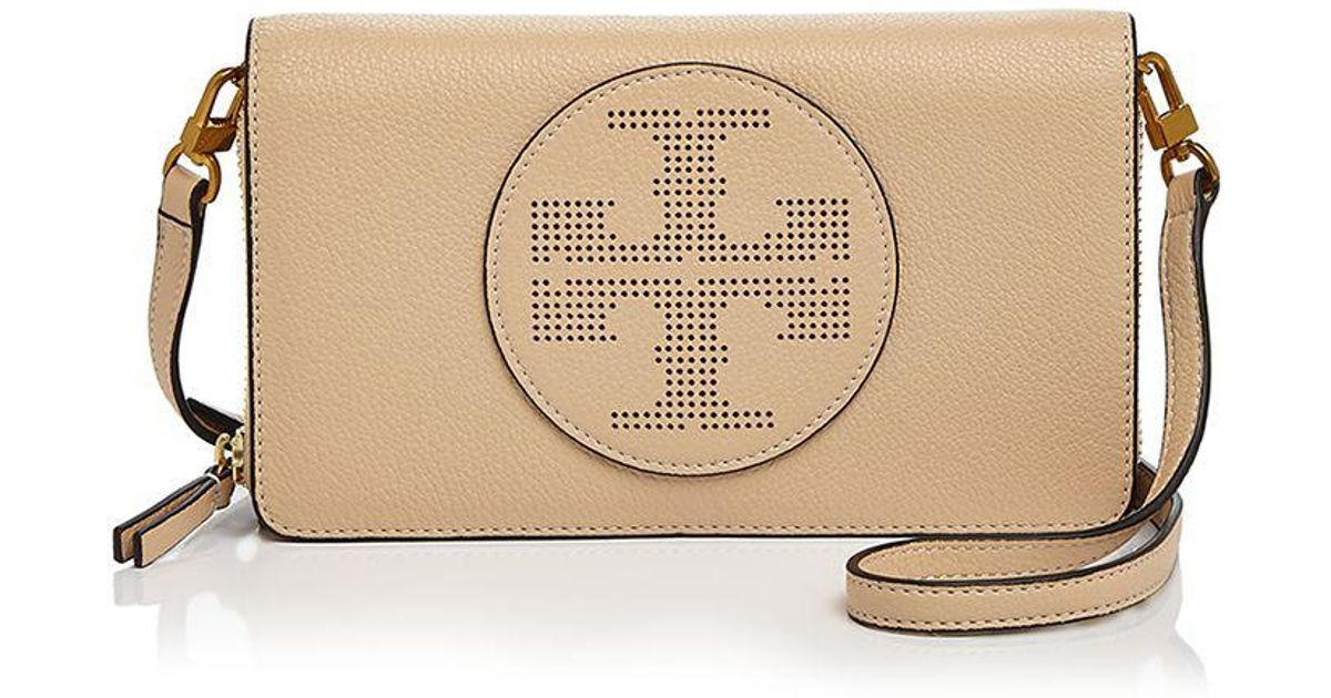 0577813c91d3 Lyst - Tory Burch Perforated Logo Flat Leather Wallet Crossbody
