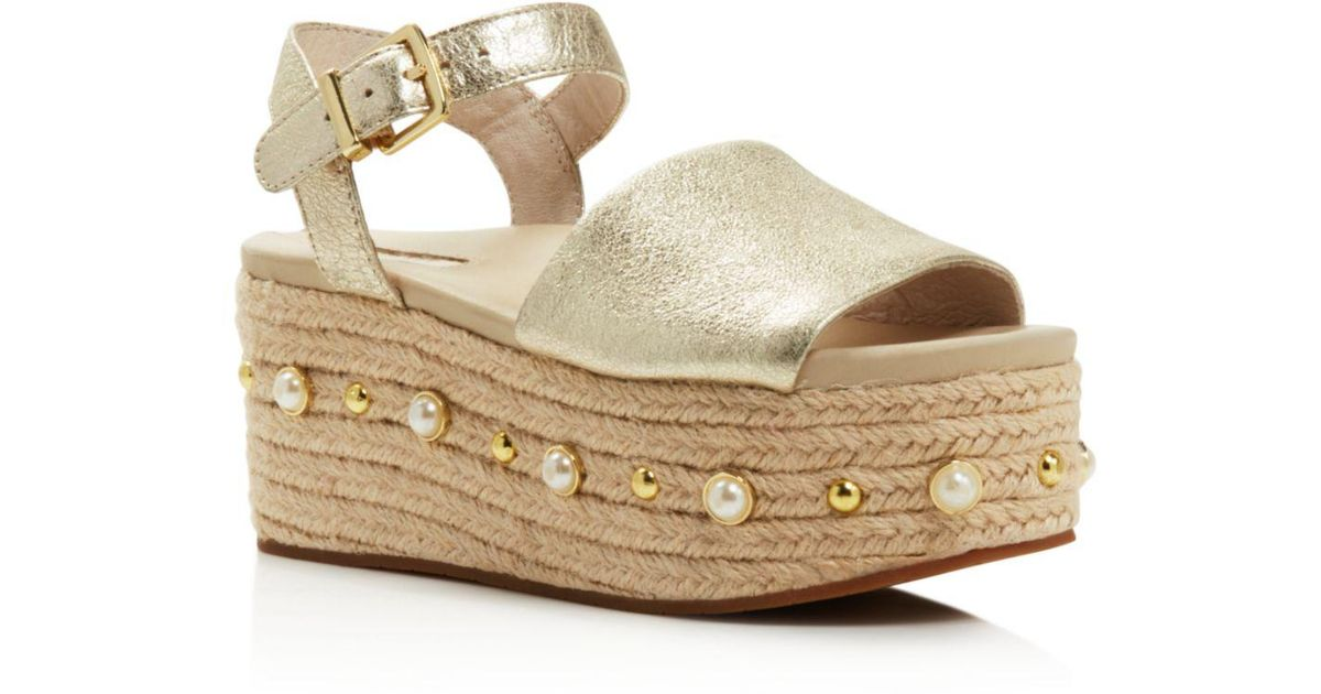 b7a6d47c2 Kenneth Cole Women's Indra Leather Embellished Espadrille Platform Wedge  Sandals in Metallic - Lyst