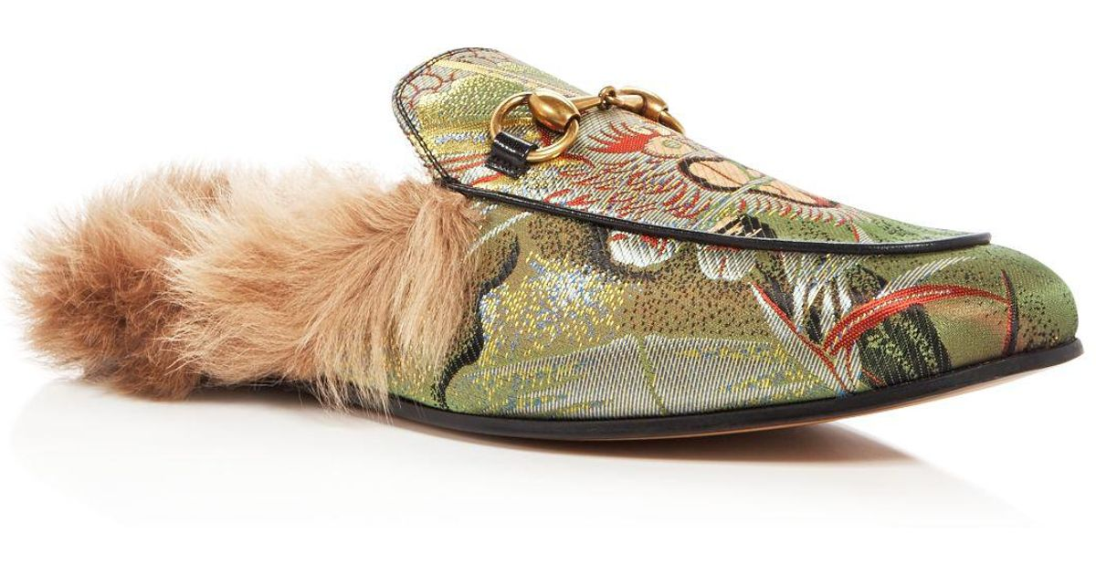 7a0de278632 Lyst - Gucci Men s Princetown Tiger Jacquard And Lamb Fur Slippers in Green  for Men