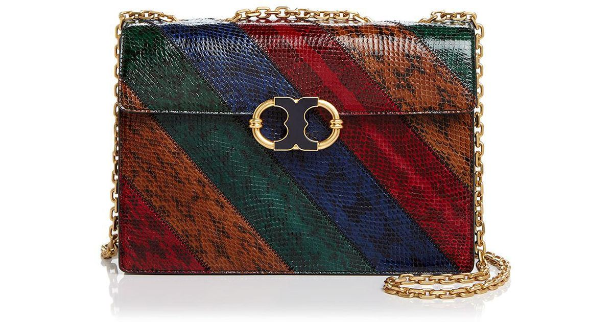 5d9731dafe74 Lyst - Tory Burch Gemini Link Chain Snake-embossed Leather Shoulder Bag