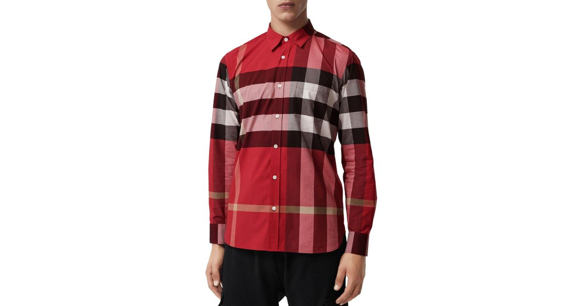 f0ba2967d Burberry Windsor Check - Pattern Classic Fit Shirt in Red for Men - Save  31% - Lyst