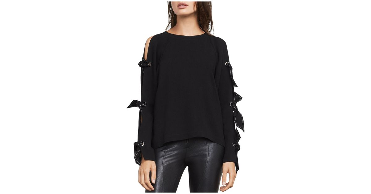 58ca440adac961 Lyst - BCBGMAXAZRIA Haydin Cold-shoulder Top in Black
