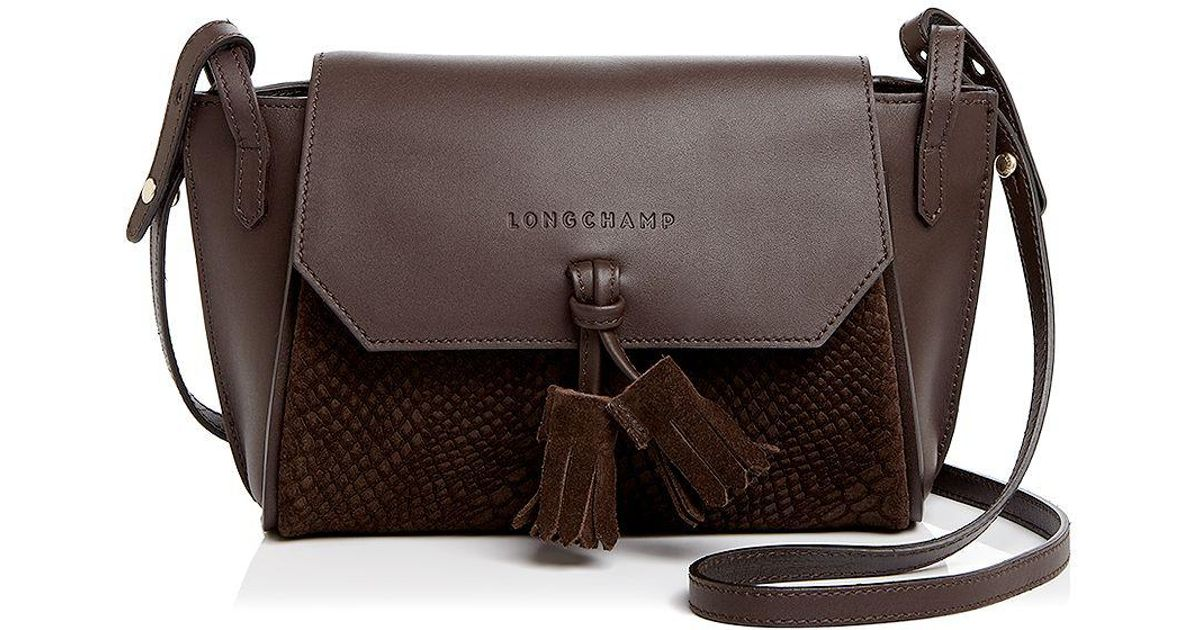 e7b48f968 Longchamp Penelope Embossed Suede And Leather Crossbody in Brown - Lyst