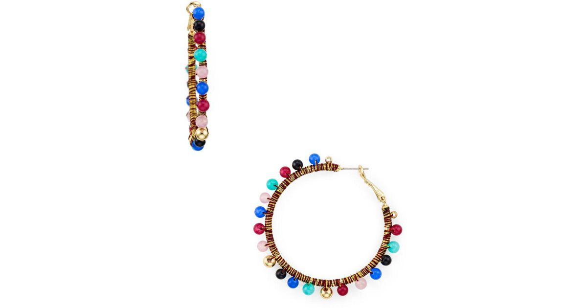 817050271 Lyst - Rebecca Minkoff Multicolor Bead Hoop Earrings