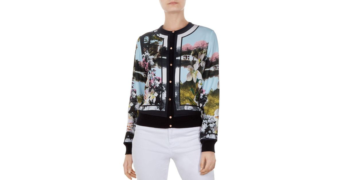 7bfe29245 Ted Baker - Blue Windemere Print Cardigan - Lyst