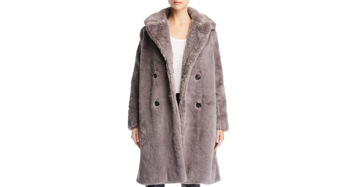 daf848449d French Connection Annie Double-breasted Faux-fur Coat - Lyst
